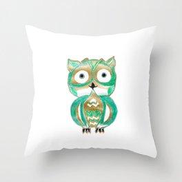 Owl Fun #4 #mint #green #gold #drawing #decor #art #society6 Throw Pillow