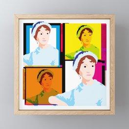 JANE AUSTEN - ENGLISH NOVELIST - COLOURFUL POP ART STYLE ILLUST Framed Mini Art Print