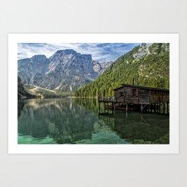 Lake Braies in Italy Art Print