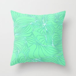 Curves in Mint & Turquoise Throw Pillow