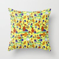 lee pace Throw Pillows featuring A Snail's Pace by Call Me Chartreuse