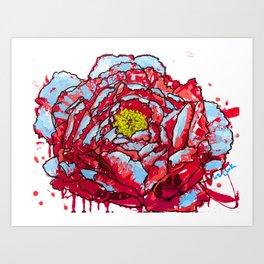 Aqua Blasted Peony Art Print