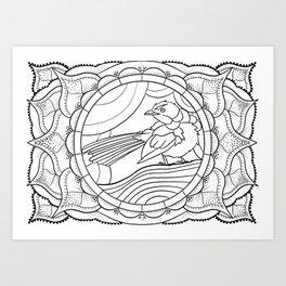 Tangled Blue Wren Art Print