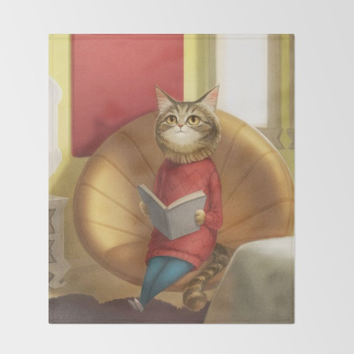 A cat reading a book Throw Blanket