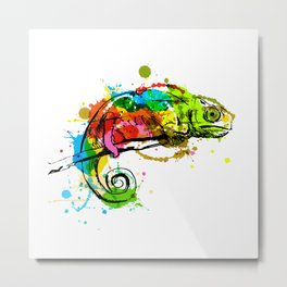 Colored hand sketch chameleon Metal Print