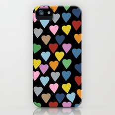 Hearts #3 Black iPhone (5, 5s) Slim Case