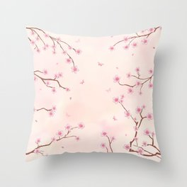 Cherry Blossom Dream Throw Pillow