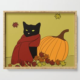 Cascade The Black Cat In Red Scarf With Pumpkin - Fall Serving Tray
