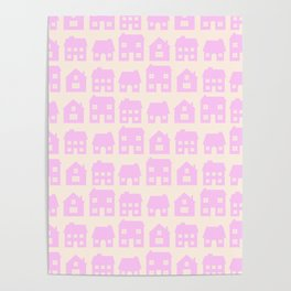 Little Scandi Houses in Pink Poster
