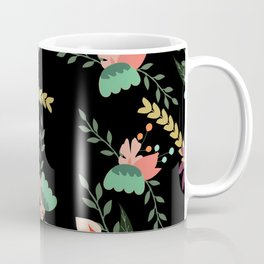 Floral pattern black Coffee Mug