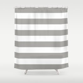 Horizontal Stripes Pattern: Grey Shower Curtain
