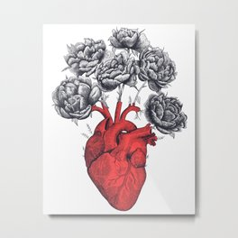 Heart with peonies Metal Print