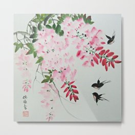 Three Swallows and Wisteria Tree Metal Print