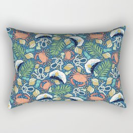Cap and crab with seashells on water drops Rectangular Pillow