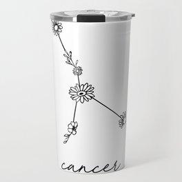 Cancer Floral Zodiac Constellation Travel Mug