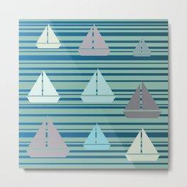 Boats & Stripes Metal Print