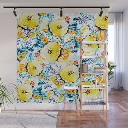 Yellow painted flowers Wall Mural