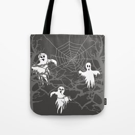 Halloween Trees with Ghosts and spider web - grey Tote Bag