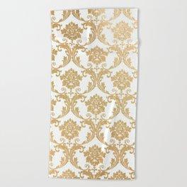 Gold swirls damask #4 Beach Towel