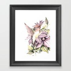 Hummingbird with Flowers Framed Art Print