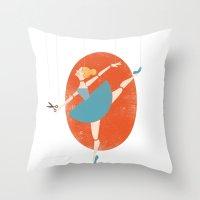 ballerina Throw Pillows featuring Ballerina by Zara Picken