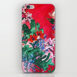 Ruby Red Floral Jungle iPhone Skin