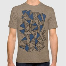 Abstraction Lines with Navy Blocks Mens Fitted Tee LARGE Tri-Coffee
