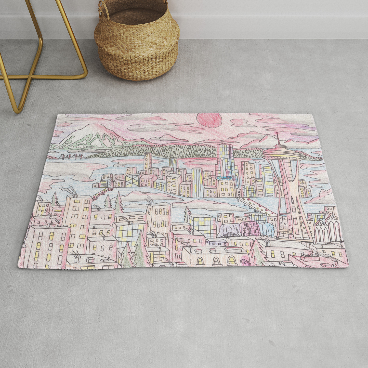 Seattle In Colored Pencil Rug By