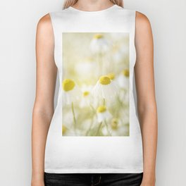 Floral Spring Meadow with Flowers Camomile and Daisies Biker Tank