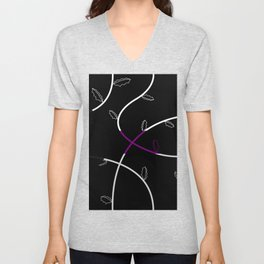 Jagged leaves, demisexual pride flag Unisex V-Neck