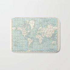 World Map in Blue and Cream Bath Mat