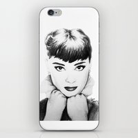 hepburn iPhone & iPod Skins featuring Hepburn by Aoife Rooney Art