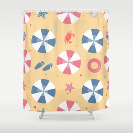 Summer Seamless Pattern. Beach with umbrellas and other summer elements Shower Curtain