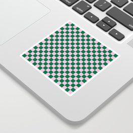 Cotton Candy Pink and Cadmium Green Checkerboard Sticker