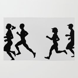 Transitions through Triathlon Runners Drawing B Rug