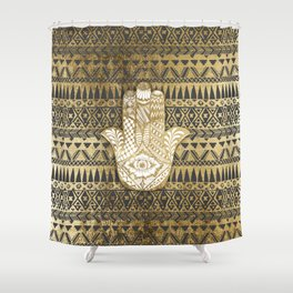 Faux Print Gold Hamsa Hand and Tribal Aztec Shower Curtain