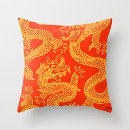 Red and Gold Battling Dragons Throw Pillow