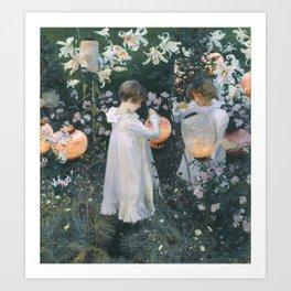 John Singer Sargent ,Carnation, Lily, Lily, Rose 1885–6 Art Print