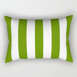 Avocado green - solid color - white vertical lines pattern Rectangular Pillow