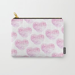 Blush pink watercolor abstract watercolor hearts pattern Carry-All Pouch