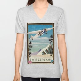Switzerland travel poster Unisex V-Neck