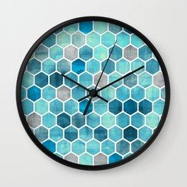 Blue Ink - watercolor hexagon pattern Wall Clock