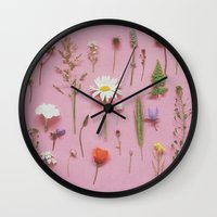 cassia beck Wall Clocks featuring Wild Flowers by Cassia Beck