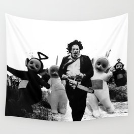 Leatherface with Teletubbies Wall Tapestry