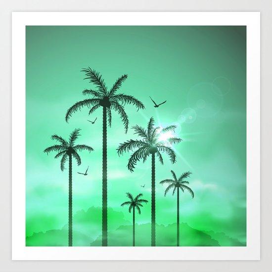 Palm Silhouette 9  Art Print