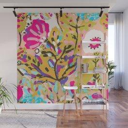 Bohemian Pink Abstract Flowers by Karen Fields Wall Mural