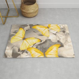 Yellow Butterflies on Dark Floral Background #decor #society6 #buyart Rug