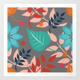 Eighties Botanical Leaves and Flower Print Design Art Print