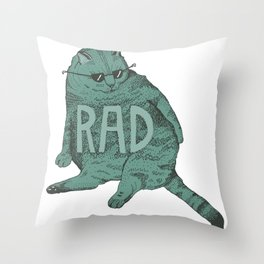 Rad Cat Throw Pillow