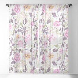 Farmhouse Floral Aubergine Sheer Curtain